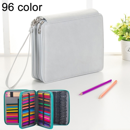 Buy 96 Slots Colored Pencil Case PU Leather Drawing Sketch Watercolor Pencils Holder Organizer with Hand Strap, Grey for $8.87 in SUNSKY store