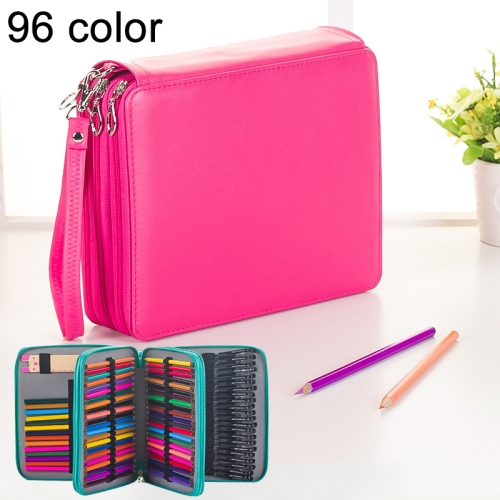 Buy 96 Slots Colored Pencil Case PU Leather Drawing Sketch Watercolor Pencils Holder Organizer with Hand Strap, Magenta for $8.87 in SUNSKY store