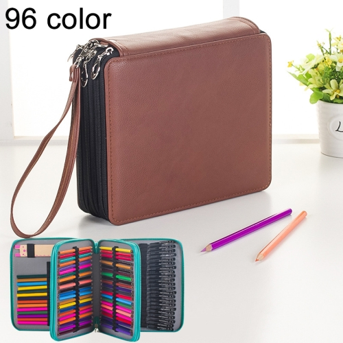 Buy 96 Slots Colored Pencil Case PU Leather Drawing Sketch Watercolor Pencils Holder Organizer with Hand Strap, Brown for $8.87 in SUNSKY store