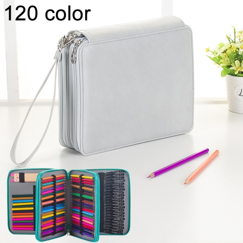 Buy 124 Slots Colored Pencil Case PU Leather Drawing Sketch Watercolor Pencils Holder Organizer with Hand Strap, Grey for $8.87 in SUNSKY store