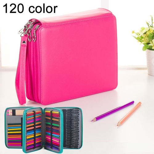Buy 124 Slots Colored Pencil Case PU Leather Drawing Sketch Watercolor Pencils Holder Organizer with Hand Strap, Magenta for $8.87 in SUNSKY store