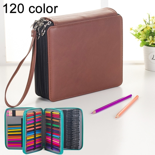 Buy 124 Slots Colored Pencil Case PU Leather Drawing Sketch Watercolor Pencils Holder Organizer with Hand Strap, Brown for $8.87 in SUNSKY store