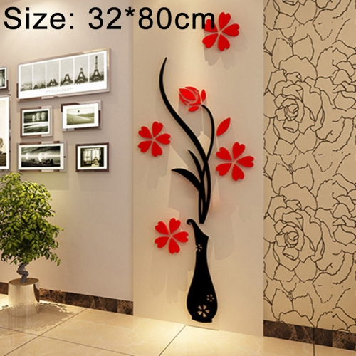 Creative Vase 3D Acrylic Stereo Wall Stickers TV Background Wall Corridor Home Decoration, Size: 32x80x4cm led bar corridor wall bedroom tv sofa background light stair corner lamp simple european style