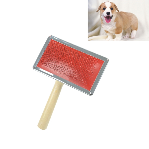 Buy Soft Curve Needled Manual Bristles Grooming Cleaning Brush with Wood Handle for Pet, Size: S, Random Color Delivery for $1.23 in SUNSKY store