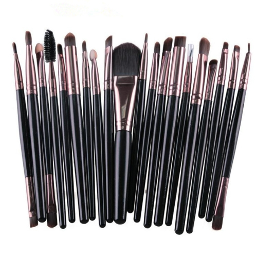 20 in 1 Plastic Handle Soft Head Foundation Eye Lip Multi-function Brush Makeup Tools(Black+Coffee) 30 in 1 multi function diamond coated grinding burrs silver