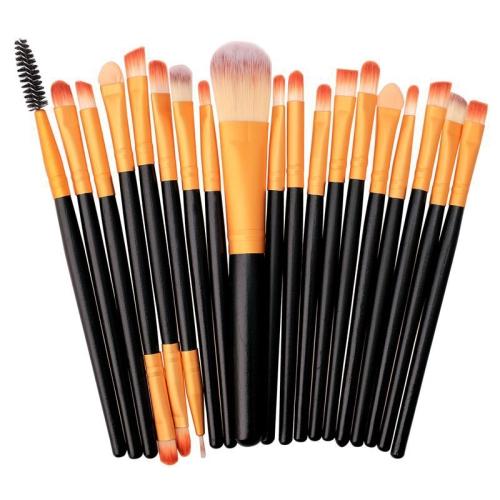 20 in 1 Plastic Handle Soft Head Foundation Eye Lip Multi-function Brush Makeup Tools(Black+Gold) фото