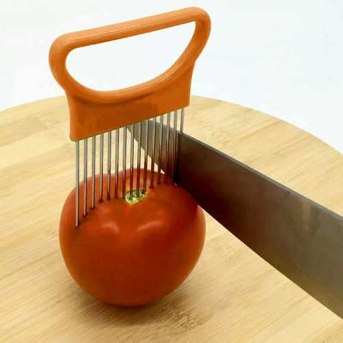 Stainless Steel Vegetable Onion Cutter Holder Meat Needle Kitchen Tools (Orange) stainless steel hand wheat grass juicers manual auger slow juice fruit wheatgrass vegetable orange juice extractor machine