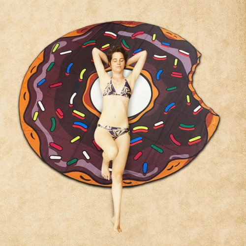 Buy Black Donuts Pattern Printed Summer Bath Towel Sand Beach Towel Shawl Scarf, Size: 150x150cm for $4.84 in SUNSKY store