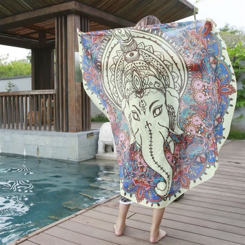Buy Printed Elephant Pattern Round Summer Bath Towel Sand Beach Towel Shawl Scarf, Size: 150x150cm for $4.53 in SUNSKY store