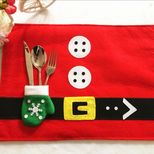 Christmas Decoration Santa Claus Suit Placemat with Glove Cutlery Holder