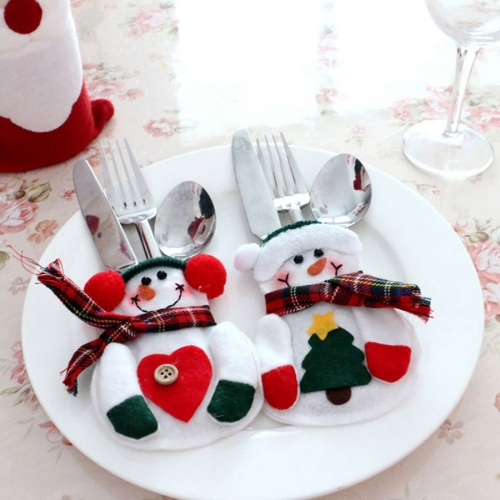 Buy 2 PCS Christmas Decoration Snowman Cutlery Holder for $2.25 in SUNSKY store
