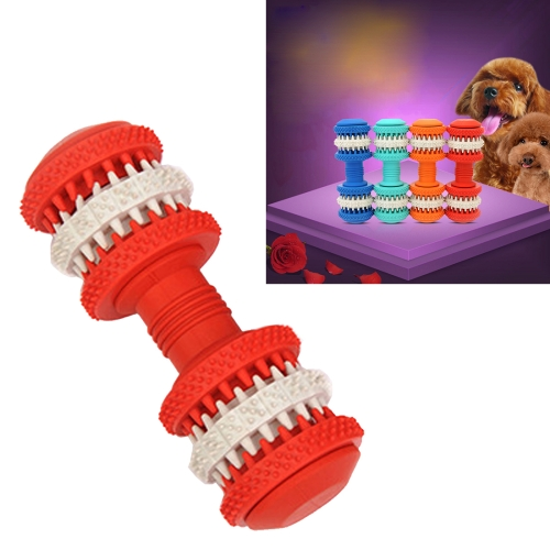 Buy Dog Toy for Pets Tooth Cleaning Chewing Dumbbells Shape Toys of Non-Toxic Soft Rubber, Small Size,Length:12cm, Red for $5.09 in SUNSKY store