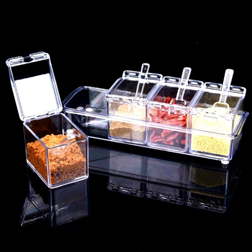 Buy 2 PCS Kitchen Multipurpose Po Four Cylinder Crystal Seasoning Box Random Color Delivery for $6.26 in SUNSKY store