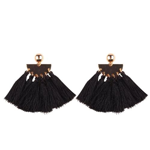 Buy 2 PCS Fashion Ethnic Tassel Flower Pendant Alloy Earrings, Black for $3.19 in SUNSKY store