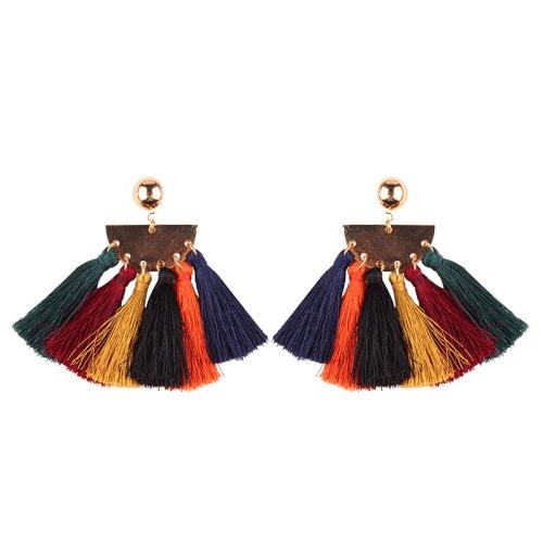 Buy 2 PCS Fashion Ethnic Tassel Flower Pendant Alloy Earrings, Colour for $3.19 in SUNSKY store