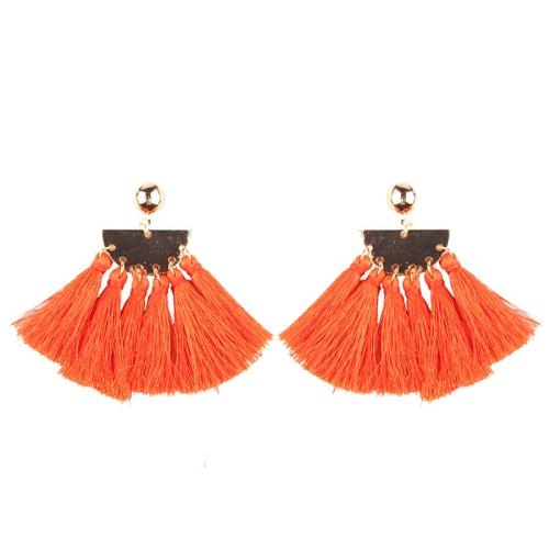 Buy 2 PCS Fashion Ethnic Tassel Flower Pendant Alloy Earrings, Orange for $3.19 in SUNSKY store