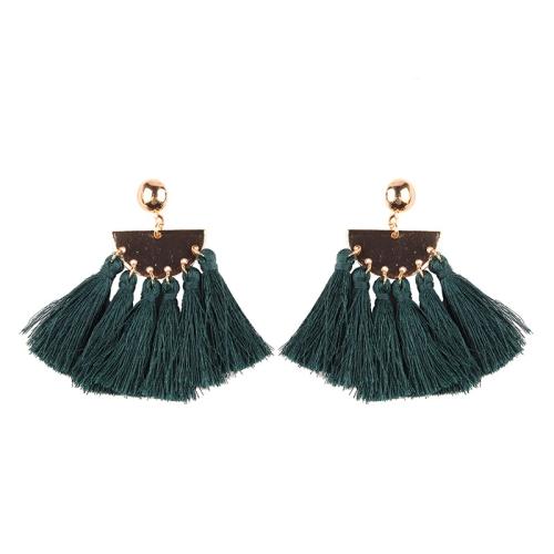 Buy 2 PCS Fashion Ethnic Tassel Flower Pendant Alloy Earrings, Green for $3.19 in SUNSKY store