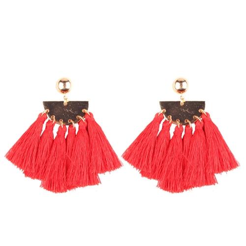 Buy 2 PCS Fashion Ethnic Tassel Flower Pendant Alloy Earrings, Red for $3.19 in SUNSKY store