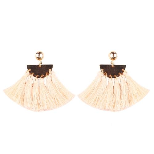Buy 2 PCS Fashion Ethnic Tassel Flower Pendant Alloy Earrings, White for $3.19 in SUNSKY store