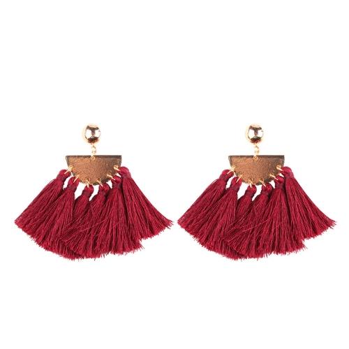 Buy 2 PCS Fashion Ethnic Tassel Flower Pendant Alloy Earrings (Wine Red) for $3.19 in SUNSKY store