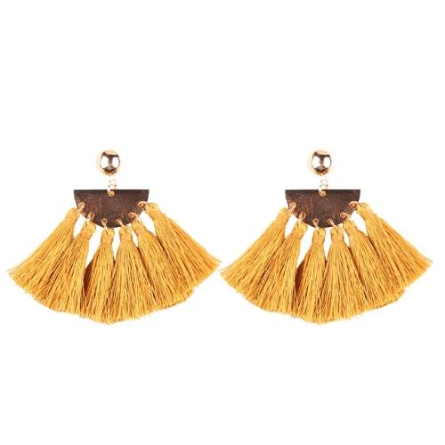 Buy 2 PCS Fashion Ethnic Tassel Flower Pendant Alloy Earrings, Yellow for $3.19 in SUNSKY store