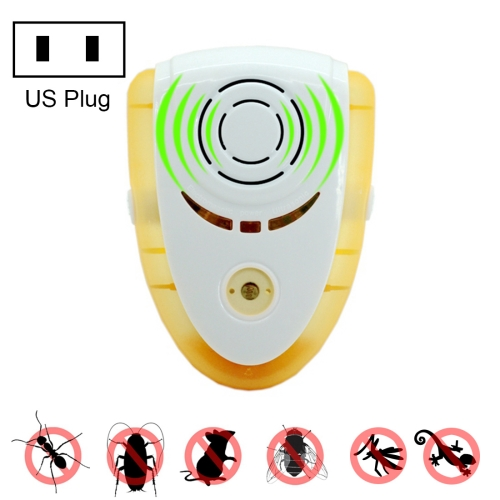 Buy 6W Electronic Ultrasonic Electromagnetic Wave Anti Mosquito Rat Insect Pest Repeller with Light, US Plug, AC 90-240V, Yellow for $6.87 in SUNSKY store