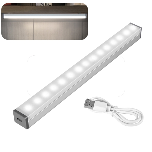 Student Dormitory Free-installation Aluminum alloy LED Adjustable Lamp With Battery, Length: 40cm(White)