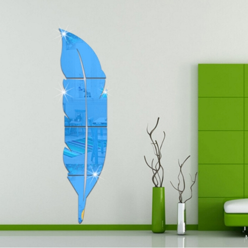 DIY Feather Style Acrylic Mirror Wall Stickers Home Room Mural Decoration Art Wall Sticker, Size: 18*73cm(Blue)
