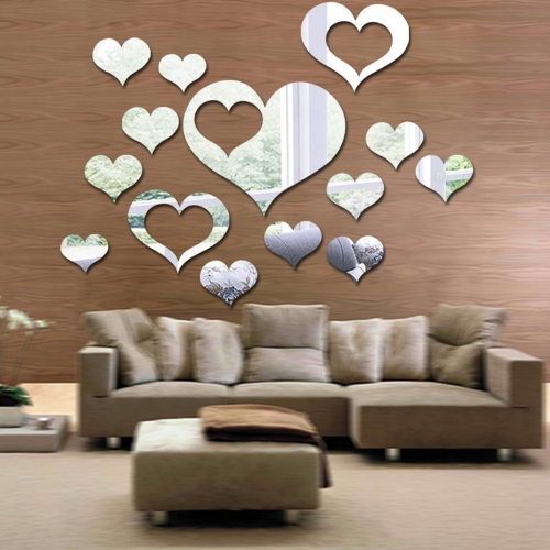 5 in 1  Love Shape Mirror Art Decor Wall Stickers Living Room Decoration Wall Decoration Sets(Silver)
