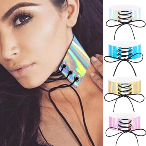 Buy 2 PCS European and American Simple Sexy Bound Collar Fashion Laser Skin Glowing Necklace, Random Color Delivery for $1.99 in SUNSKY store