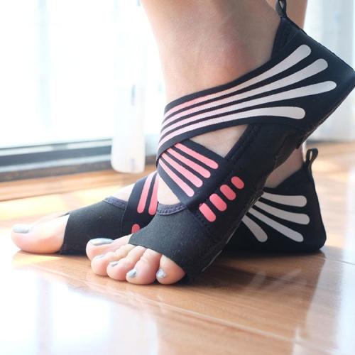 1 Pair Anti-Slip Yoga Socks Toeless Pilates Socks Ballet Yoga Pilates Barre Shoes for Women, 35-36 Yard (Pink) yoga for women
