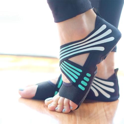 1 Pair Anti-Slip Yoga Socks Toeless Pilates Socks Ballet Yoga Pilates Barre Shoes for Women, 245-250mm (Green)