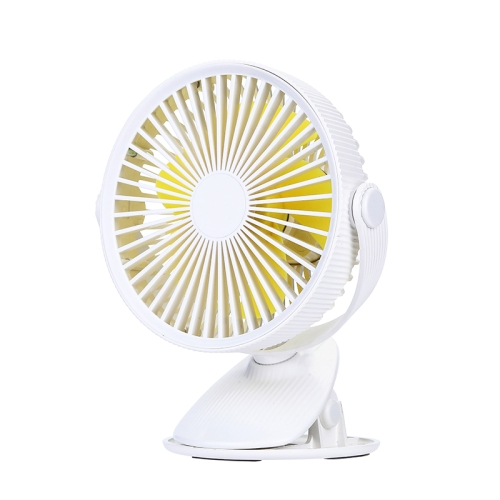 WT-F15 Clamp Dual-use 1200mAh 360 Degrees Rotation Mini Wireless USB Portable Fan with 3 Speed Control (White)