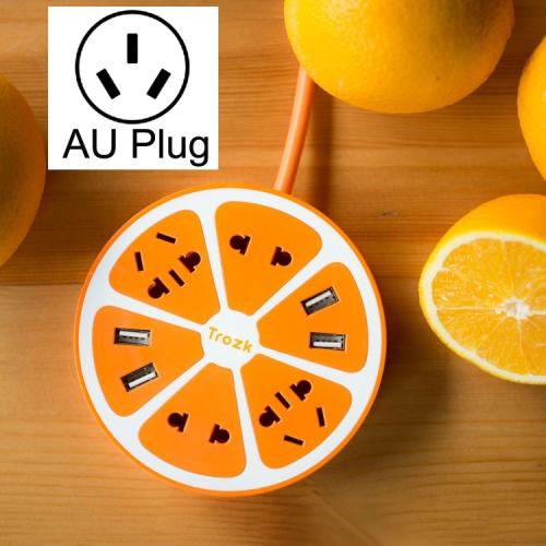 Buy TROZK-UZ001 Universal Circular Shape Power Socket Adapter Converter with 4 US / AU / EU Plug Supply Hubs & 4A Four USB Ports, AU Plug, Orange for $11.81 in SUNSKY store