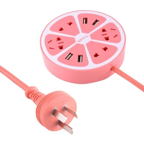 Buy TROZK-UZ001 Universal Circular Shape Power Socket Adapter Converter with 4 US / AU / EU Plug Supply Hubs & 4A Four USB Ports, AU Plug, Pink for $11.81 in SUNSKY store