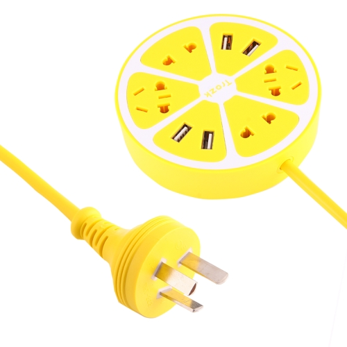 Buy TROZK-UZ001 Universal Circular Shape Power Socket Adapter Converter with 4 US / AU / EU Plug Supply Hubs & 4A Four USB Ports, AU Plug, Yellow for $11.81 in SUNSKY store