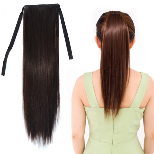 Natural Long Straight Hair Ponytail Bandage-style Wig Ponytail for Women,Length: 45cm (Black Brown)