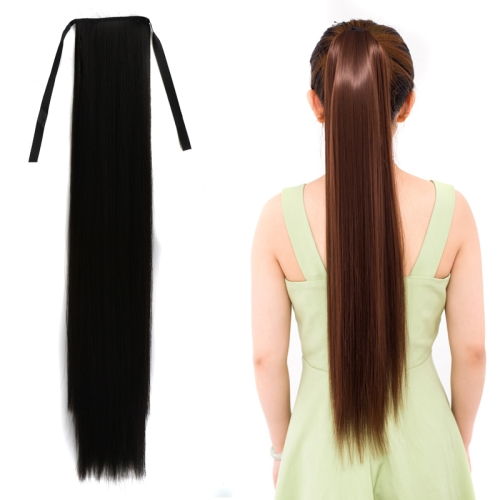 Natural Long Straight Hair Ponytail Bandage-style Wig Ponytail for Women,Length: 75cm(Black)