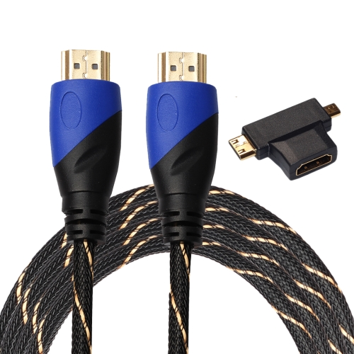 Buy 3m HDMI 1.4 Version 1080P Woven Net Line Blue Black Head HDMI Male to HDMI Male Audio Video Connector Cable with Mini HDMI & Micro HDMI & HDMI 3 in 1 Adapter Set for $3.19 in SUNSKY store