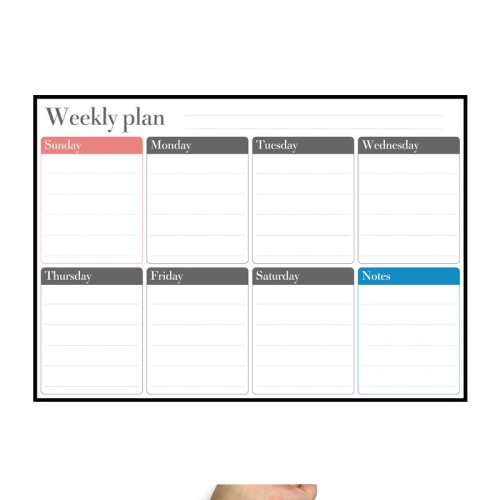 Magnetic Weekly Plan Refrigerator Magnet PET Magnetic Soft Whiteboard, Size: 29.7cm x 42cm (Black) фото