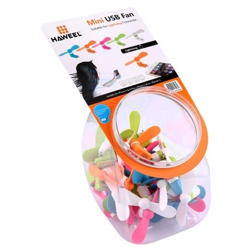 Buy 40 PCS Mixed Colors HAWEEL 3.5 inch Fashion Portable 8 Pin USB Phone Two Leaves Mini Fan Kit with Candy Cans Package for $28.39 in SUNSKY store