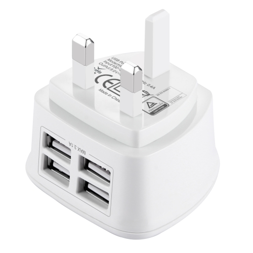 [BS Certificate] HAWEEL UK Plug 4 USB Ports Max 3.1A Travel Charger, Private Mold with Patent, For iPhone, iPad, Galaxy, Huawei, Xiaomi, LG, HTC and other Smart Phones(White)