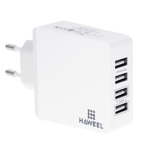 HAWEEL 4 Ports USB Max 3.1A Travel Wall Charger, EU Plug, with CE & RoHS Certification, For iPhone, iPad, Galaxy, Huawei, Xiaomi, LG, HTC and other Smart Phones(White) original xiaomi 4 usb ports 7a us plug wall charger for cellphone tablet camera powerbank