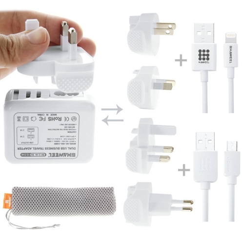 Buy HAWEEL Travel Charger Kit with Mesh Bag (2.1A Dual USB Wall Charger with 4xPlug Adapter + MFI 8 Pin + Micro USB Cable) for $12.13 in SUNSKY store