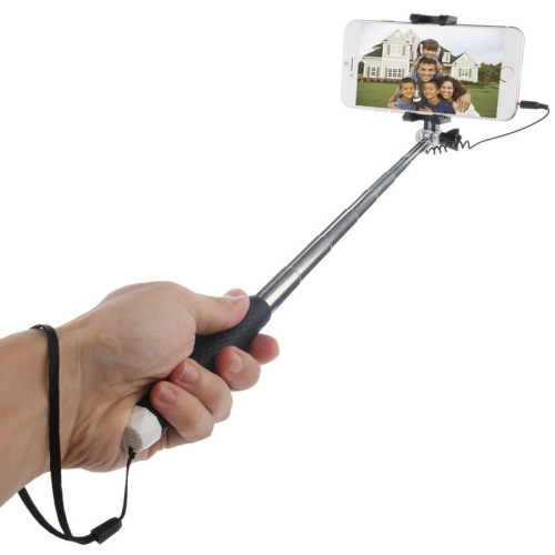 [HK Stock] HAWEEL Mini Multifunction Wire Controlled Extendable Selfie Stick Monopod, For iPhone, Galaxy, Huawei, Xiaomi, HTC, Sony, Google and other Smartphones of Android or iOS(Black) 9 aluminum alloy extendable bipod w mount for ak m40 guns more black
