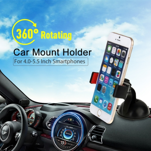 HAWEEL 360 Degrees Rotating Suction Cup Car Mount Holder, For iPhone, Galaxy, Huawei, Xiaomi, LG, HTC and other Smartphones with Screen between 4.0-5.5 inch 360 degree rotatable double suction cup car mount holder for smartphones gps more black