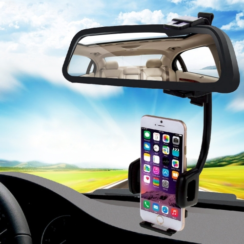 HAWEEL 2 in 1 Universal Car Rear View Mirror Stand Mobile Phone Mount Holder, Clamp Size: 40mm-80mm, For iPhone, Galaxy, Huawei, Xiaomi, LG, HTC and other Smartphones(Black) фото