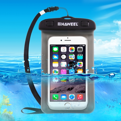 HAWEEL Transparent Universal Waterproof Bag with Lanyard for iPhone, Galaxy, Huawei, Xiaomi, LG, HTC and Other Smart Phones(Black) universal waterproof protective pvc bag w armband strap for iphone 4 4s 5 white black