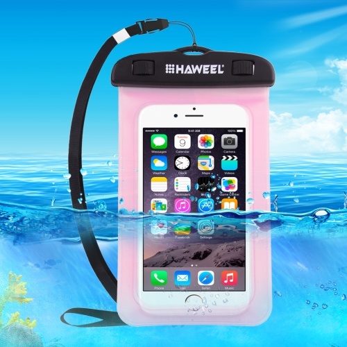 HAWEEL Transparent Universal Waterproof Bag with Lanyard for iPhone, Galaxy, Huawei, Xiaomi, LG, HTC and Other Smart Phones(Pink)