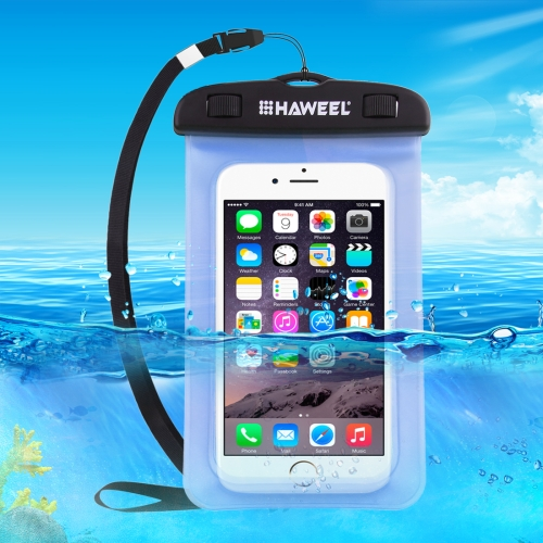 HAWEEL Transparent Universal Waterproof Bag with Lanyard for iPhone, Galaxy, Huawei, Xiaomi, LG, HTC and Other Smart Phones(Blue)